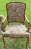 French Style Walnut Framed Armchair